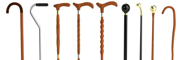 Variety of walking canes.