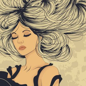 Beautiful woman with long flowing hair artistic illustration. This is an eps10 file with transparency.