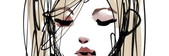 Cute girl watercolor illustration