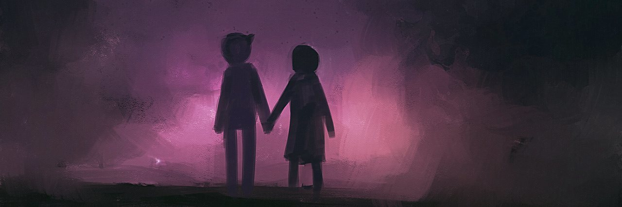 painting of couples holding hands under the stars.
