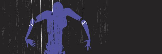 female puppet on man's strings manipulation