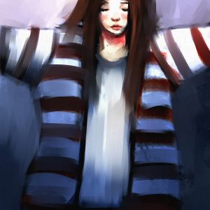 digital painting portrait of beautiful girl in striped robe, oil on canvas texture