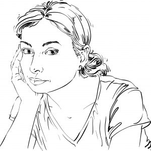Vector art drawing, portrait of sad and depressed woman, thinking