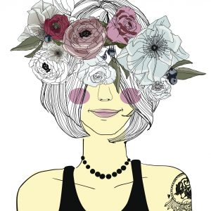 An illustration of a woman with her hair covering her eyes, with a flower crown.