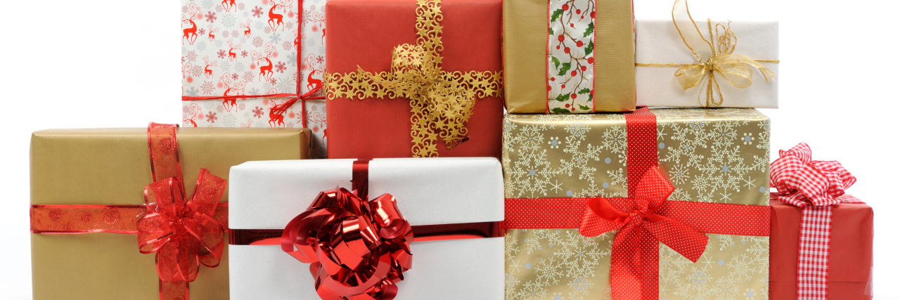 Christmas gifts on white background.