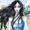 Watercolor illustration of swimming teacher with long dark hair and her students behind. Cold weather nature scene. Hand drawn illustration. Watercolor painting