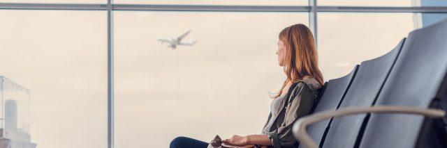 girl waiting for boarding