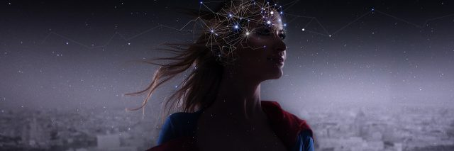 woman in superhero costume with overlaid neurons in brain