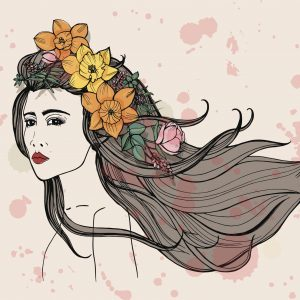 A watercolor illustration of a woman with flowers in her hair.