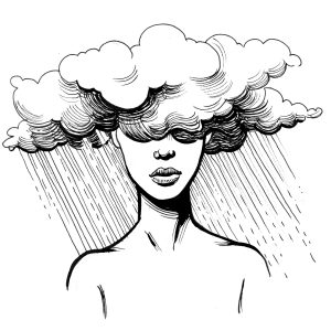 An illustration of a woman with her head in a cloud that is raining.