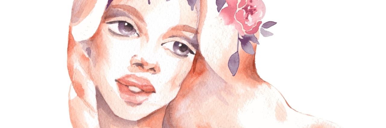 watercolor painting of a woman with flowers in her hair