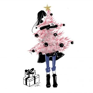 An illustration of a woman holding a pink Christmas tree.