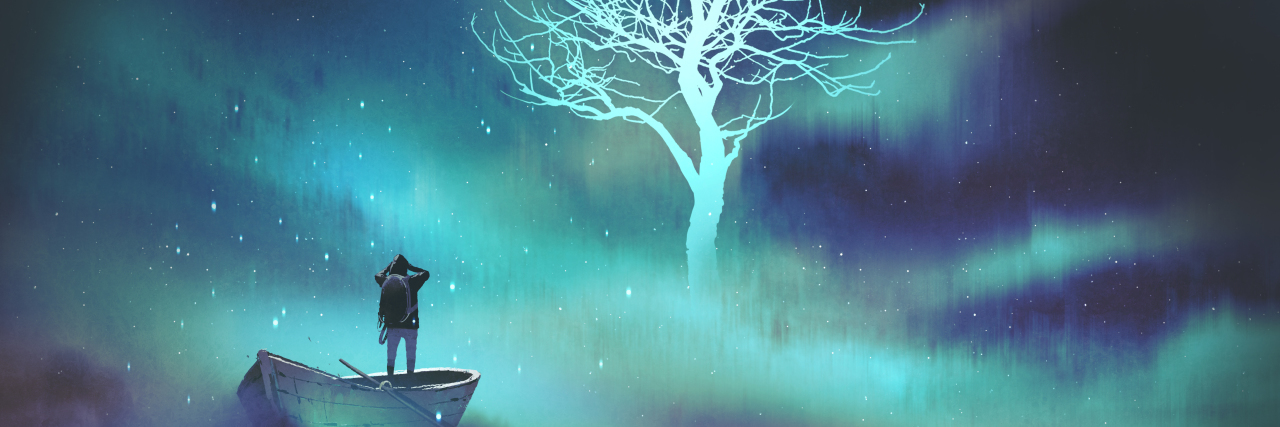man on a boat in the outer space with clouds looking at glowing tree with stars, digital art style, illustration painting