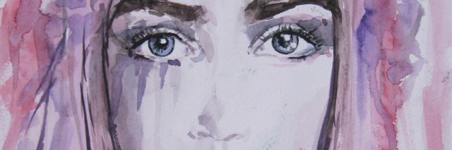 Woman face portrait. Abstract watercolor. Fashion drawing of a beautiful woman