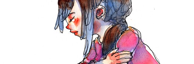 ink and wash watercolor illustration set of girl with red heart symbol, traditional artwork scanned