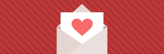 Red striped background with a envelope and letter featuring a heart inside