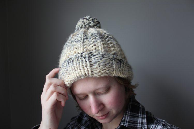 woman wearing a knit hat