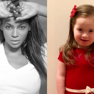 Beyonce and little girl with Down syndrome side by side pictures