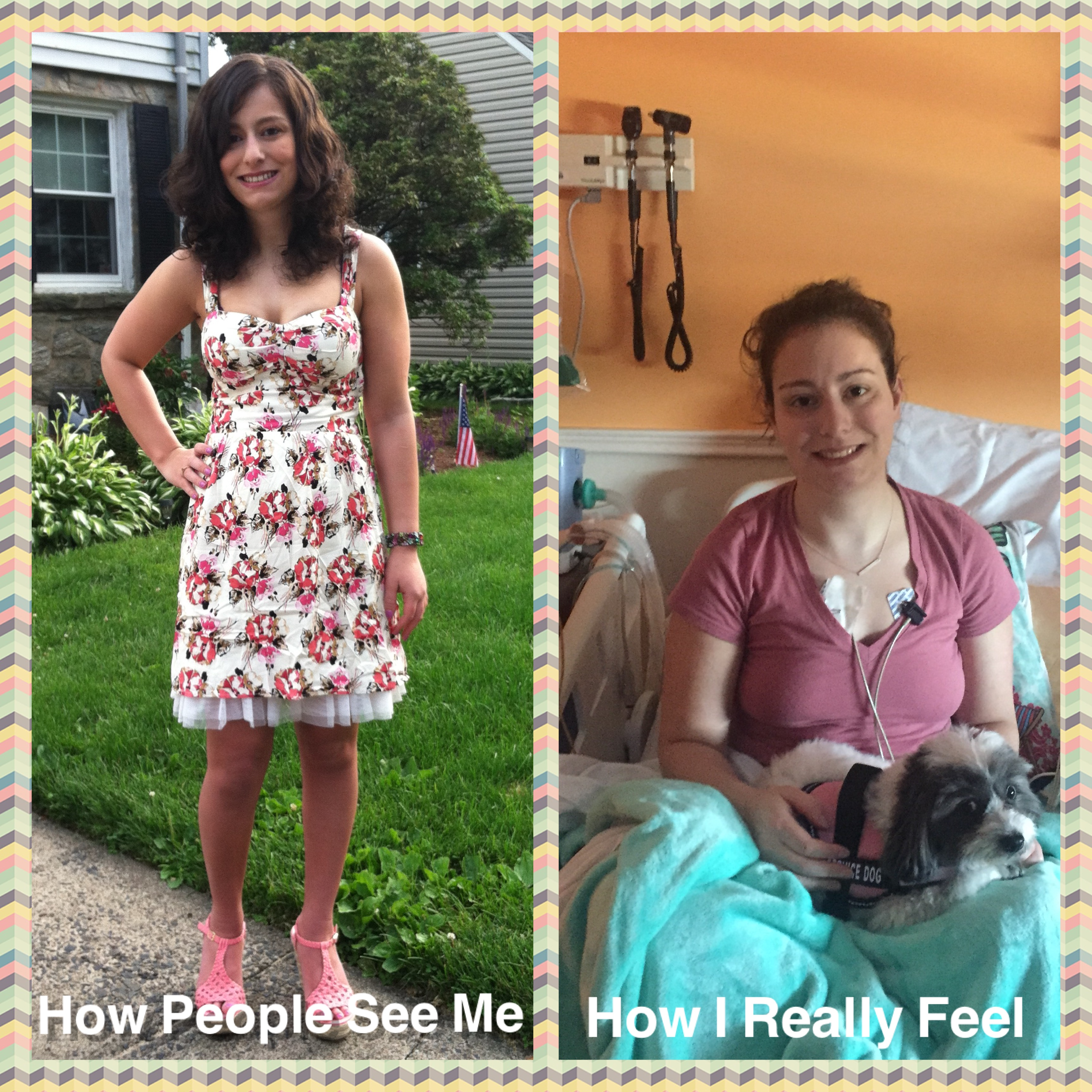 Two photos of the writer - the one to the left of her in a sundress, the one to the right of her at the hospital, not feeling well.