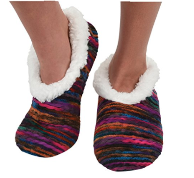snoozies slippers with sherpa fleece lining and red and pink striped design