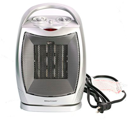 small gray space heater with handle on top