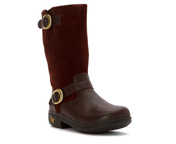 alegria brown knee boot with buckle