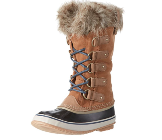sorel boot tan lace up with furry edge on top