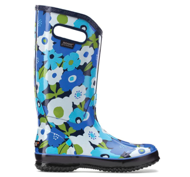 bogs brand blue floral rainboot