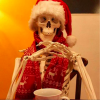 skeleton wearing santa hat and scarf