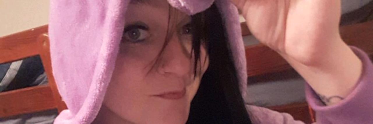 Chelsea Knox in unicorn costume.