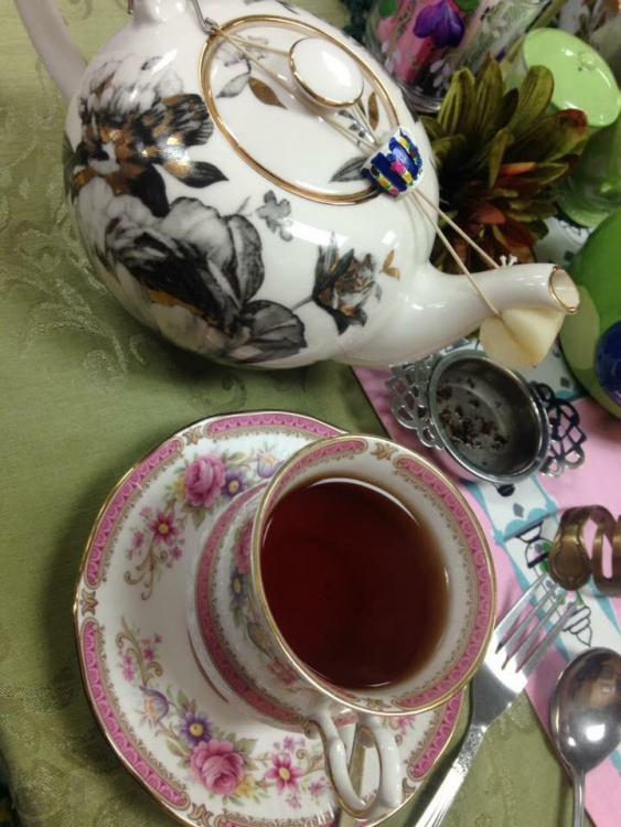 a teacup and teapot