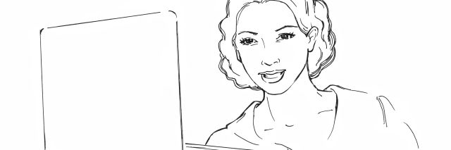 sketch of woman with laptop