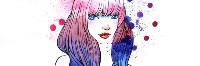 watercolor painting of woman with colored hair
