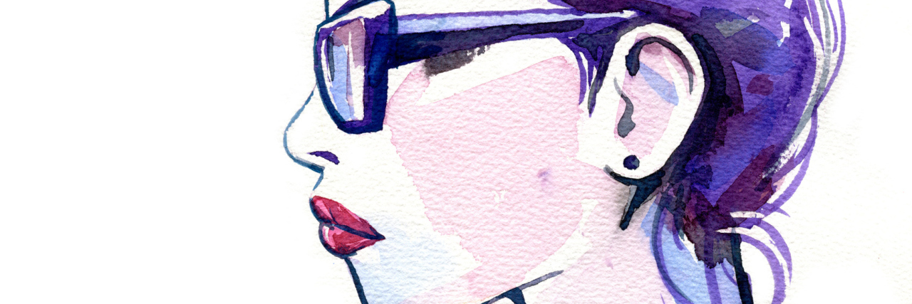 Watercolor of Glasses Girl