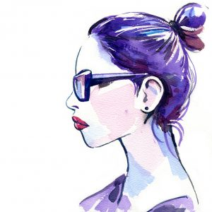 Watercolor of Glasses Girl