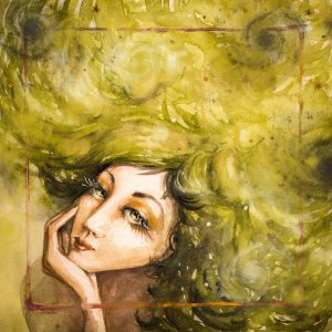 illustration of woman with long yellowish green hair