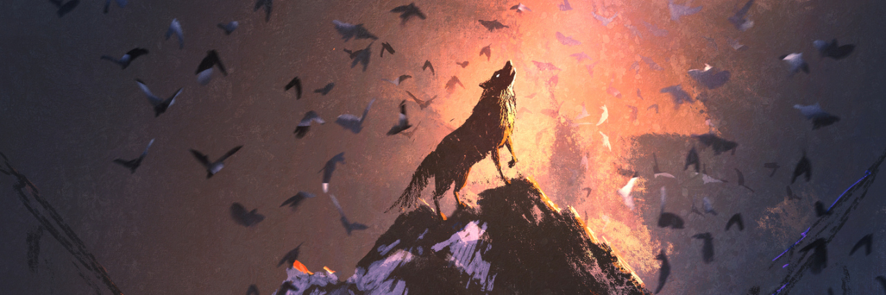 wolf howling from the top of a hill with birds flying around him and light shining on him