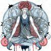 illustration of woman sitting cross legged and meditating