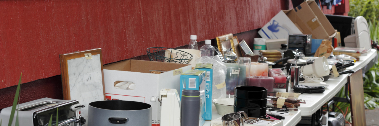 items on a table at a yard sale