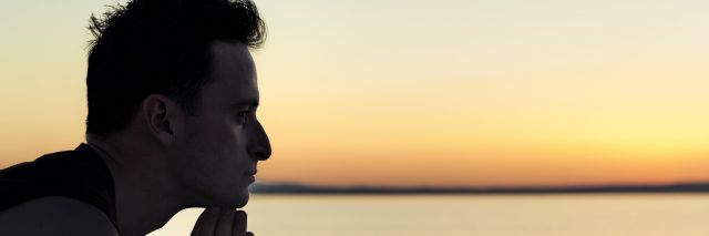 Pensive man silhouette