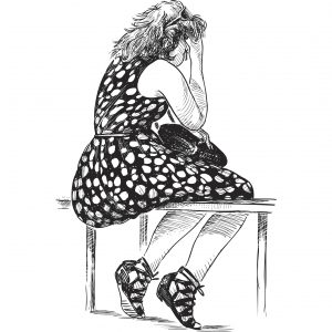 Drawing of a tired young woman.