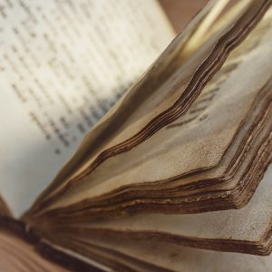 Old book with yellowed pages.