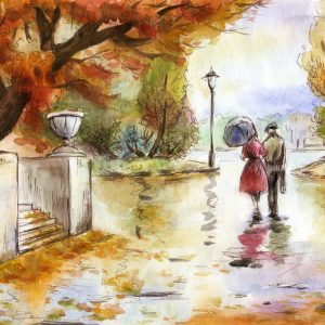 illustration of a man and woman walking down a road in autumn
