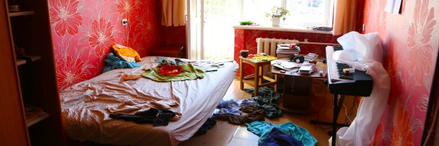 Messy girl's room.