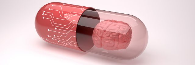 Pill filled with a brain.