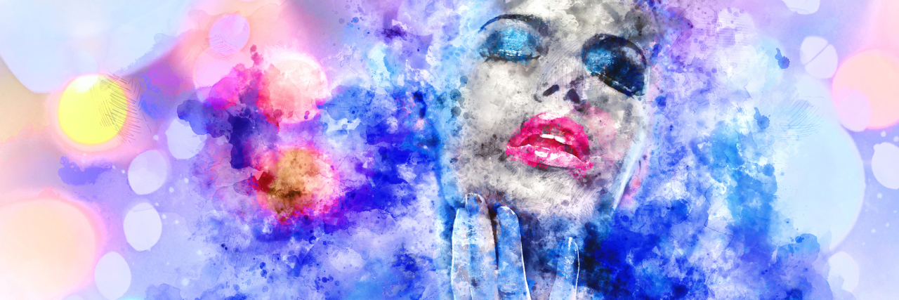 woman with bright makeup surrounded by colorful smoke
