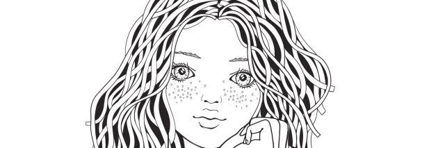 Cute girl in a striped sweater. Coloring book page for adult. Black and white. Doodle style.