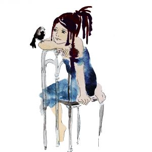 watercolor painting of woman sitting on a chair with a bird