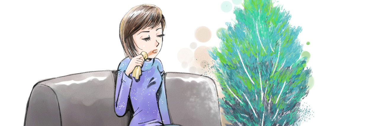 painting of a woman sitting on her couch