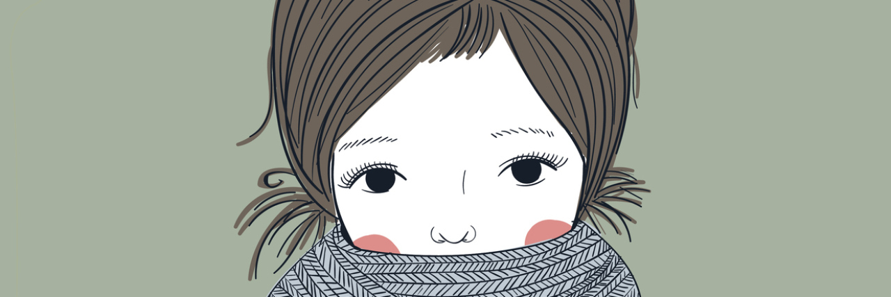 An illustration of a young girl in a sweater and knit scarf.